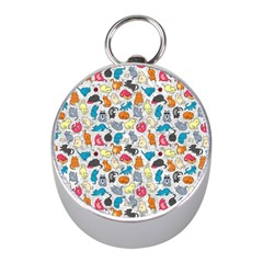 Funny Cute Colorful Cats Pattern Mini Silver Compasses by EDDArt