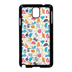 Funny Cute Colorful Cats Pattern Samsung Galaxy Note 3 Neo Hardshell Case (black)