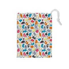 Funny Cute Colorful Cats Pattern Drawstring Pouches (medium)