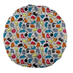 Funny Cute Colorful Cats Pattern Large 18  Premium Flano Round Cushions by EDDArt