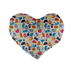 Funny Cute Colorful Cats Pattern Standard 16  Premium Flano Heart Shape Cushions by EDDArt