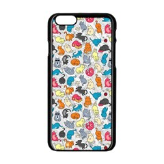 Funny Cute Colorful Cats Pattern Apple Iphone 6/6s Black Enamel Case