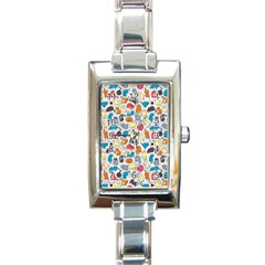 Funny Cute Colorful Cats Pattern Rectangle Italian Charm Watch by EDDArt