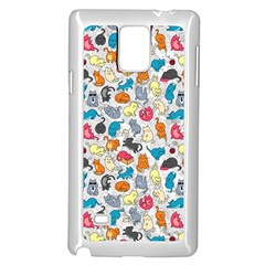 Funny Cute Colorful Cats Pattern Samsung Galaxy Note 4 Case (white) by EDDArt
