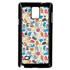 Funny Cute Colorful Cats Pattern Samsung Galaxy Note 4 Case (black)