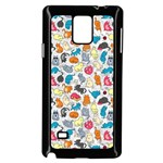 Funny Cute Colorful Cats Pattern Samsung Galaxy Note 4 Case (Black) Front