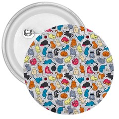 Funny Cute Colorful Cats Pattern 3  Buttons by EDDArt