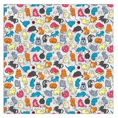 Funny Cute Colorful Cats Pattern Large Satin Scarf (square) by EDDArt