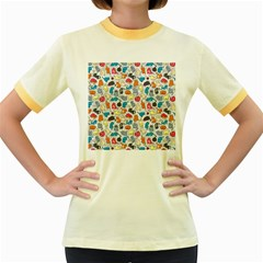 Funny Cute Colorful Cats Pattern Women s Fitted Ringer T Shirts