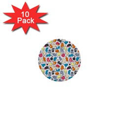 Funny Cute Colorful Cats Pattern 1  Mini Buttons (10 Pack)  by EDDArt