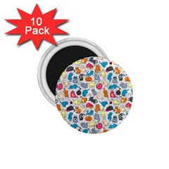 Funny Cute Colorful Cats Pattern 1 75  Magnets (10 Pack)