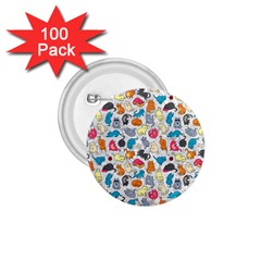 Funny Cute Colorful Cats Pattern 1 75  Buttons (100 Pack)