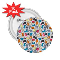 Funny Cute Colorful Cats Pattern 2 25  Buttons (10 Pack)  by EDDArt