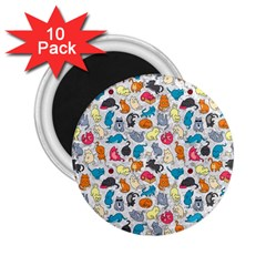 Funny Cute Colorful Cats Pattern 2 25  Magnets (10 Pack)  by EDDArt