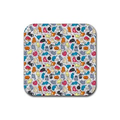 Funny Cute Colorful Cats Pattern Rubber Coaster (square)  by EDDArt