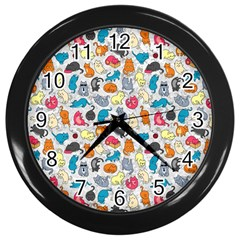 Funny Cute Colorful Cats Pattern Wall Clock (black) by EDDArt