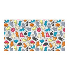 Funny Cute Colorful Cats Pattern Satin Wrap by EDDArt