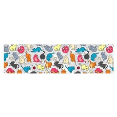 Funny Cute Colorful Cats Pattern Satin Scarf (oblong)