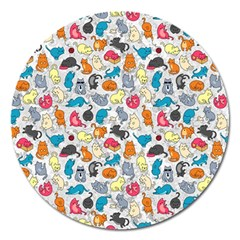 Funny Cute Colorful Cats Pattern Magnet 5  (round) by EDDArt