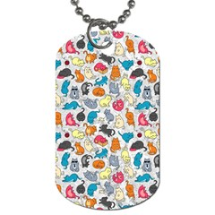 Funny Cute Colorful Cats Pattern Dog Tag (one Side)