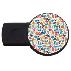 Funny Cute Colorful Cats Pattern Usb Flash Drive Round (2 Gb) by EDDArt
