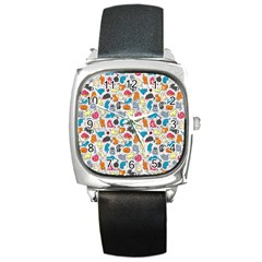 Funny Cute Colorful Cats Pattern Square Metal Watch