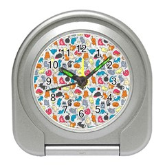 Funny Cute Colorful Cats Pattern Travel Alarm Clock by EDDArt