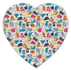 Funny Cute Colorful Cats Pattern Jigsaw Puzzle (heart)
