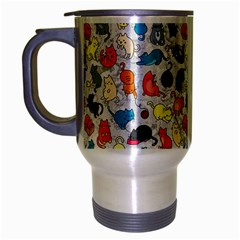 Funny Cute Colorful Cats Pattern Travel Mug (silver Gray) by EDDArt