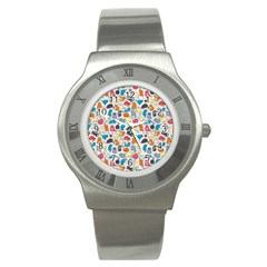 Funny Cute Colorful Cats Pattern Stainless Steel Watch