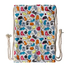 Funny Cute Colorful Cats Pattern Drawstring Bag (large) by EDDArt