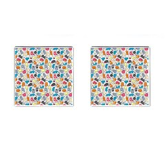 Funny Cute Colorful Cats Pattern Cufflinks (square) by EDDArt