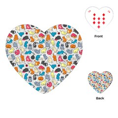 Funny Cute Colorful Cats Pattern Playing Cards (heart)  by EDDArt