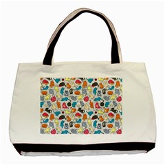 Funny Cute Colorful Cats Pattern Basic Tote Bag by EDDArt