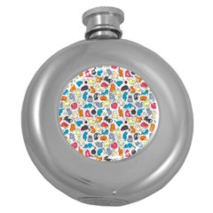 Funny Cute Colorful Cats Pattern Round Hip Flask (5 Oz) by EDDArt
