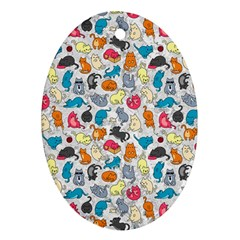 Funny Cute Colorful Cats Pattern Oval Ornament (two Sides) by EDDArt