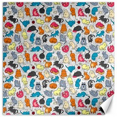 Funny Cute Colorful Cats Pattern Canvas 12  X 12   by EDDArt