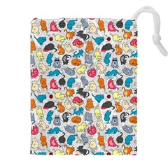 Funny Cute Colorful Cats Pattern Drawstring Pouches (xxl) by EDDArt