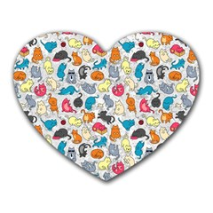 Funny Cute Colorful Cats Pattern Heart Mousepads