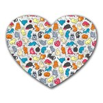 Funny Cute Colorful Cats Pattern Heart Mousepads Front