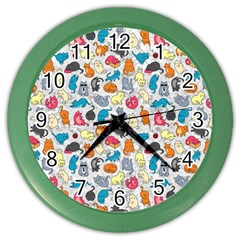 Funny Cute Colorful Cats Pattern Color Wall Clock by EDDArt