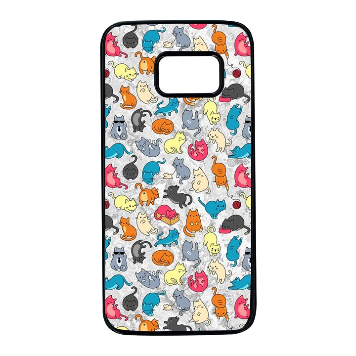 Funny Cute Colorful Cats Pattern Samsung Galaxy S7 Black Seamless Case