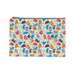 Funny Cute Colorful Cats Pattern Cosmetic Bag (large)