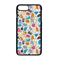 Funny Cute Colorful Cats Pattern Apple Iphone 7 Plus Seamless Case (black)