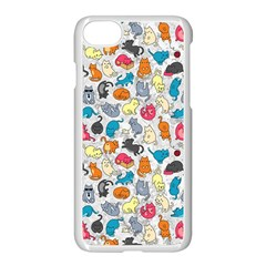 Funny Cute Colorful Cats Pattern Apple Iphone 7 Seamless Case (white) by EDDArt