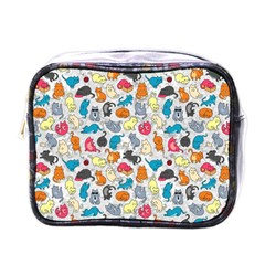Funny Cute Colorful Cats Pattern Mini Toiletries Bags by EDDArt