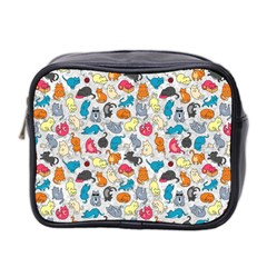 Funny Cute Colorful Cats Pattern Mini Toiletries Bag 2 Side by EDDArt