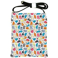 Funny Cute Colorful Cats Pattern Shoulder Sling Bags by EDDArt