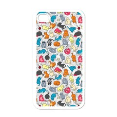 Funny Cute Colorful Cats Pattern Apple Iphone 4 Case (white)