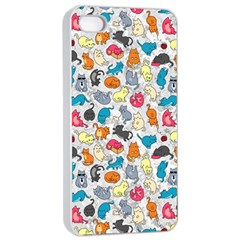 Funny Cute Colorful Cats Pattern Apple Iphone 4/4s Seamless Case (white)
